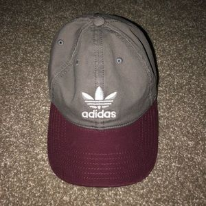 Grey & Maroon Adidas Hat